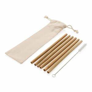 6dílná sada bambusových brček s čistícím kartáčkem a obalem XD Collection