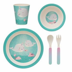 5dílná sada dětského nádobí a příborů Sass & Belle Alma Narwhal