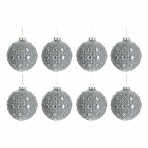 Sada 8 skleněných vánočních ozdob ve stříbrné barvě J-Line Bauble,ø7,8cm
