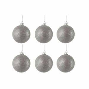 Sada 6 skleněných vánočních ozdob ve stříbrné barvě J-Line Bauble,ø8cm