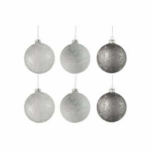 Sada 6 skleněných vánočních ozdob v bílo-stříbrné barvě J-Line Bauble,ø8cm