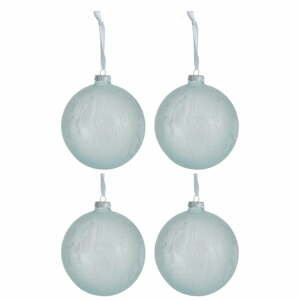 Sada 4 bílo-modrých skleněných vánočních ozdob J-Line Xmas,ø12cm