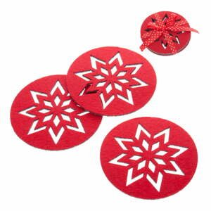 Sada 4 červených vánočních tácků Unimasa Snowflake
