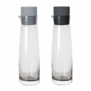 Sada 2 lahví na ocet a olej s šedým silikonovým víčkem Blomus