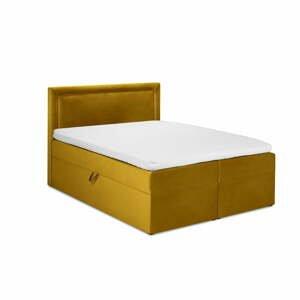 Hořčičově žlutá sametová dvoulůžková postel Mazzini Beds Yucca,180x200cm