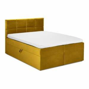 Hořčicově žlutá sametová dvoulůžková postel Mazzini Beds Mimicry,200x200cm