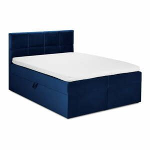Modrá sametová dvoulůžková postel Mazzini Beds Mimicry,160x 200cm