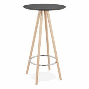 Černý barový stůl s přírodními nohami KokoonDeboo, výška 110cm