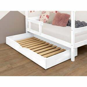 Bílá dřevěná zásuvka pod postel s roštem a plným dnem Benlemi Buddyn,90x180cm