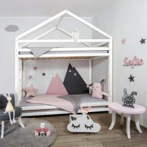 Bílá dřevěná patrová dětská postel Benlemi Cloudy,90x200cm