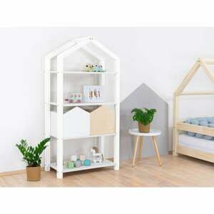 Bílá dřevěná dětská knihovna Benlemi Tally,77,2x39x152,2cm