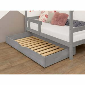 Šedý dřevěný šuplík pod postel s roštem a plným dnem BenlemiBuddy, 90x160cm