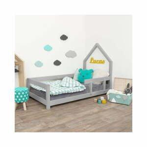 Šedá dětská postel domeček s pravou bočnicí Benlemi Poppi, 70 x 160 cm