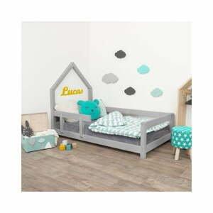 Šedá dětská postel domeček s levou bočnicí Benlemi Poppi, 80 x 180 cm