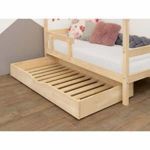 Přírodní dřevěný šuplík pod postel s roštem a plným dnem BenlemiBuddy, 70x140cm