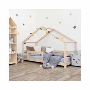 Přírodní dětská postel domeček s bočnicí Benlemi Lucky, 120 x 200 cm