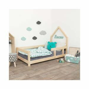 Přírodní dětská postel domeček s pravou bočnicí Benlemi Lucky, 90 x 200 cm