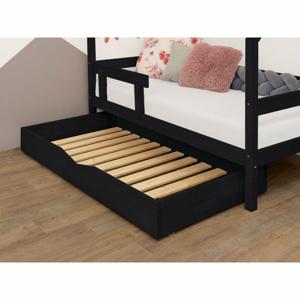 Černý dřevěný šuplík pod postel s roštem a plným dnem BenlemiBuddy, 70x140cm