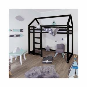 Černá vyvýšená postel ze smrkového dřeva s žebříkem vlevo BenlemiNesty, 120x200cm