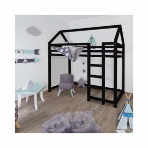 Černá vyvýšená postel ze smrkového dřeva s žebříkem vpravo BenlemiNesty, 120x200cm