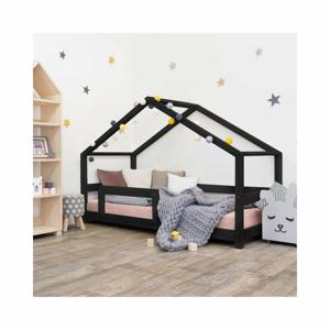 Černá dětská postel domeček s bočnicí Benlemi Lucky, 90 x 160 cm