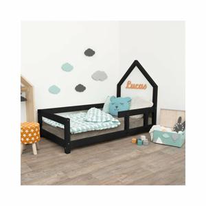 Černá dětská postel domeček s pravou bočnicí Benlemi Poppi, 120 x 200 cm