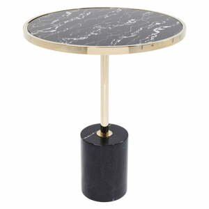 Černý odkládací stolek s podnožím ve zlaté barvě Kare Design San Remo Base, ø 46 cm