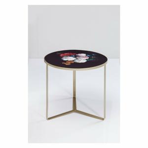 Černý odkládací stolek s deskou v květinovém dekoru Kare Design Flores, ø 45 cm