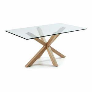 Skleněný jídelní stůl s přírodním podnožím La Forma, 160 x 90 cm