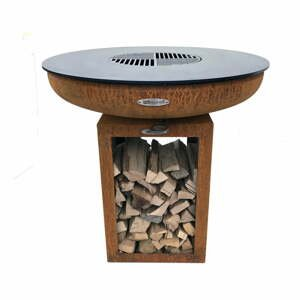 Hnědý venkovní gril na dřevěné uhlí Remundi Carus M, výška 80 cm