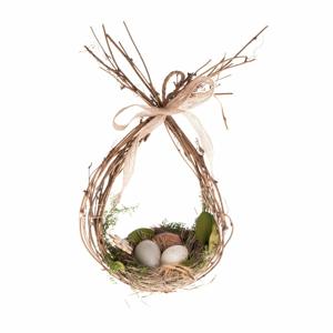 Proutěná dekorace ve tvaru hnízda Dakls, výška 31 cm