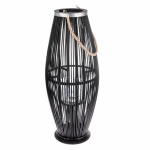 Černá skleněná lucerna s bambusovou konstrukcí Dakls, výška 71 cm
