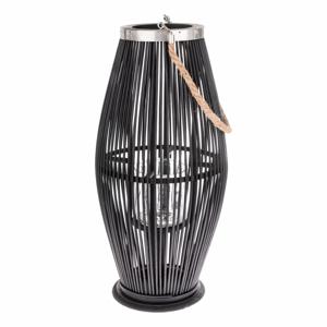 Černá skleněná lucerna s bambusovou konstrukcí Dakls, výška 59 cm
