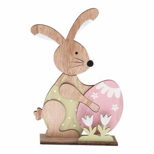 Dřevěná dekorace ve tvaru velikonočního zajíce Dakls, výška 23 cm
