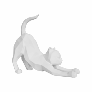 Matně bílá soška PT LIVING Origami Stretching Cat,výška30,5cm