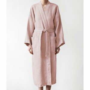 Unisex pudrově růžový župan z bavlny a lnu Linen Tales, vel. M
