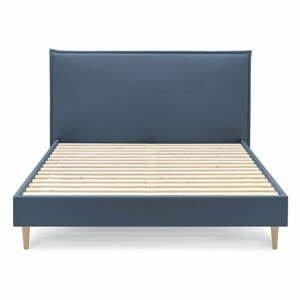 Modrá dvoulůžková postel Bobochic Paris Sary Light, 180 x 200 cm