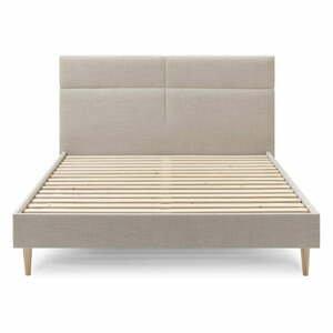Béžová dvoulůžková postel Bobochic Paris Elyna Light, 160 x 200 cm