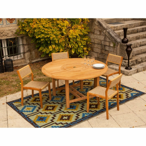 Set zahradního kulatého stolu a 4 stohovatelných židlí z teakového dřeva Ezeis