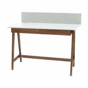 Bílý psací stůl s podnožím z jasanového dřeva Ragaba Luka Oak,délka 85cm
