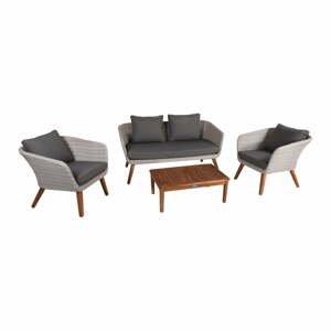 Set zahradní šedé lavice, 2 křesel a dřevěného stolku ADDU Arona
