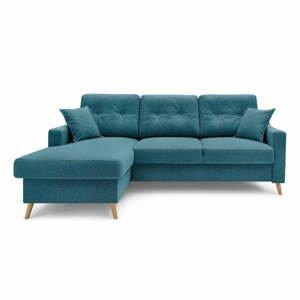 Tyrkysově modrá rozkládací rohová pohovka s úložným prostorem Bobochic Paris Sweden, levý roh, 224 cm