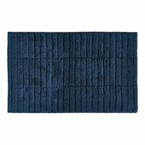 Tmavě modrá bavlněná koupelnová předložka Zone Tiles,80x50cm
