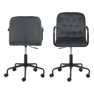Tmavě šedá kancelářská židle se sametovým povrchem Actona Wendy
