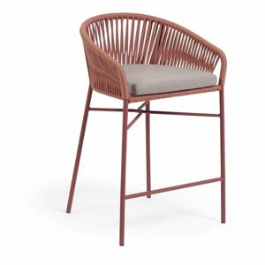 Zahradní barová židle s výpletem v barvě terakota La Forma Yanet, výška 85 cm