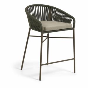 Zahradní barová židle se zeleným výpletem La Forma Yanet, výška 85 cm