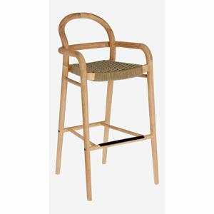 Zahradní barová židle z eukalyptového dřeva s béžovým výpletem La Forma Sheryl, výška 79 cm