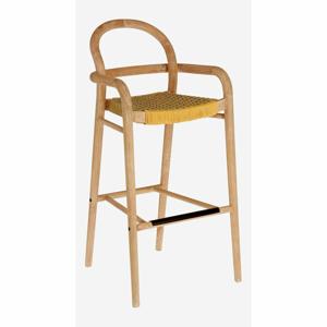 Zahradní barová židle z eukalyptového dřeva s výpletem v terakotové barvě La Forma Sheryl, výška 79 cm