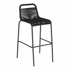 Černá barová židle s ocelovou konstrukcí La Forma Glenville, výška 74 cm