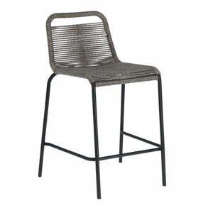 Šedá barová židle s ocelovou konstrukcí La Forma Glenville, výška 62 cm